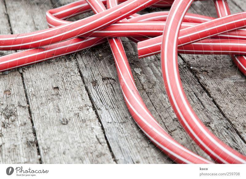 Wasser, marsch! Schlauch Gartenschlauch Holz Kunststoff Linie Netzwerk liegen einfach trocken braun rot weiß Farbe Farbfoto Nahaufnahme Menschenleer