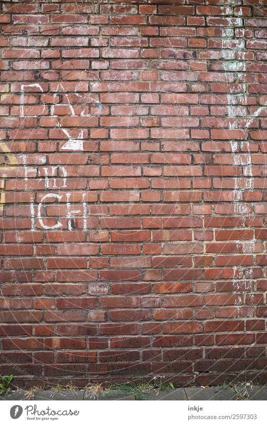DAS bin ICH Lifestyle Menschenleer Mauer Wand Fassade Kreide Zeichen Schriftzeichen einfach Backstein Identität Pfeil Farbfoto Außenaufnahme Textfreiraum rechts
