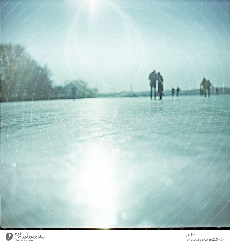 Alstereis 2 blau Sonne Winter kalt Leben Schnee See Paar Eis Park Tourismus Ausflug Hamburg Spaziergang Frost Seeufer