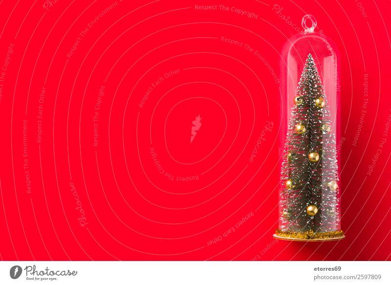 Weihnachtsbaum und Schnee auf leuchtend rotem Hintergrund. Weihnachten & Advent Baum Dekoration & Verzierung Dezember Jahreszeiten Saison