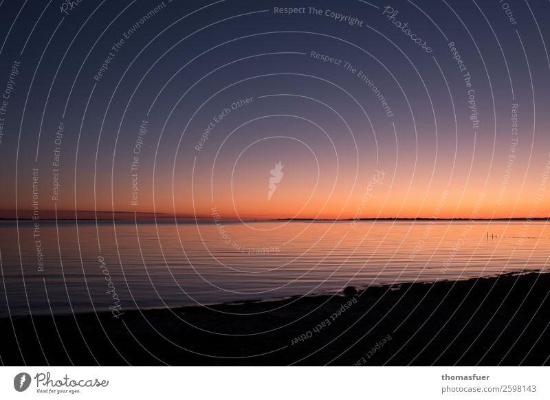 Abendrot, Meer, Horizont Ferien & Urlaub & Reisen Ferne Freiheit Sommer Sommerurlaub Strand Insel Wellen Natur Landschaft Erde Feuer Luft Wasser Himmel