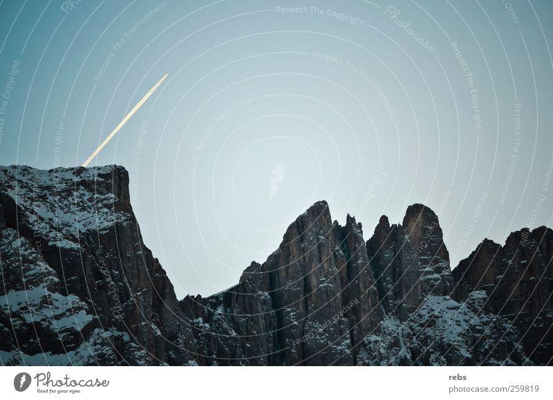 Himmel Natur blau weiß Winter Ferne Schnee Berge u. Gebirge grau Stein Luft Felsen Flugzeug Luftverkehr Klettern Alpen