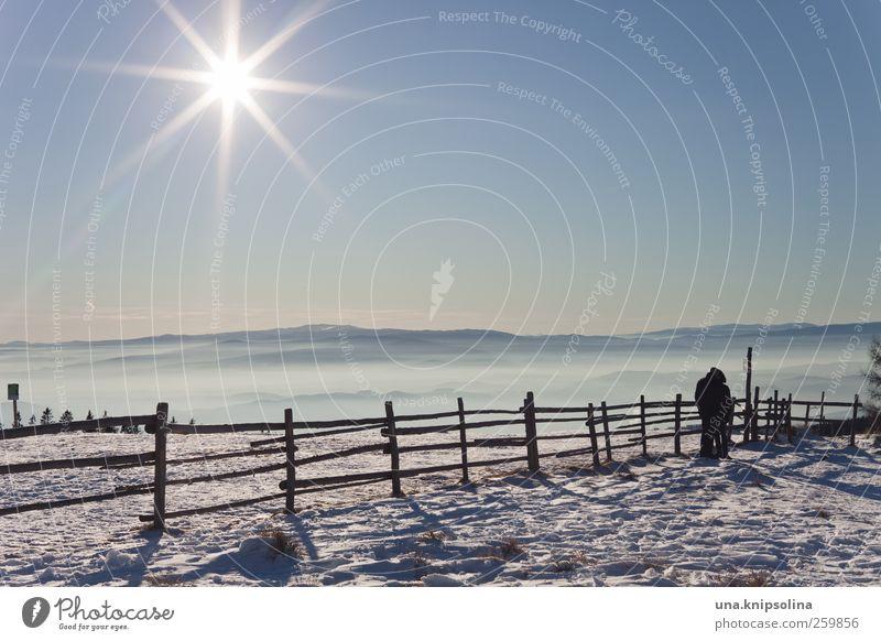 1445 m. ü. a. Mensch Natur weiß Sonne Winter Ferne kalt Schnee Landschaft Berge u. Gebirge wandern Gipfel Schönes Wetter Wolkenloser Himmel