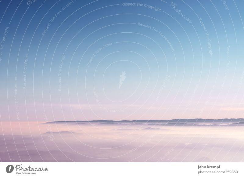 Himmelfahrtskommando blau schön Landschaft Wolken Ferne Berge u. Gebirge Glück rosa Horizont Zufriedenheit Nebel Lebensfreude Romantik Gipfel Hoffnung