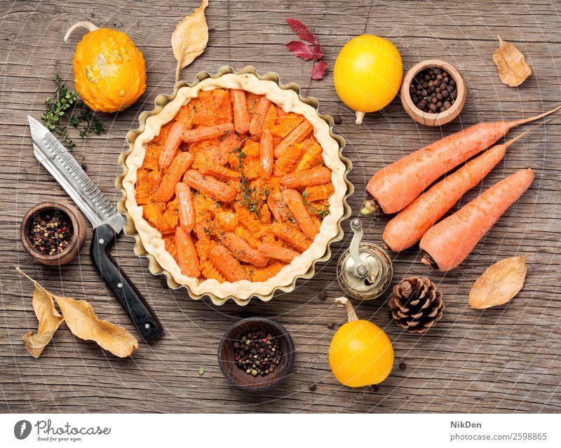Torte mit Karotten und Kürbis Gemüse Möhre Pasteten Herbst Blatt fallen Lebensmittel Gesundheit lecker Abendessen selbstgemacht Vegetarier Küche