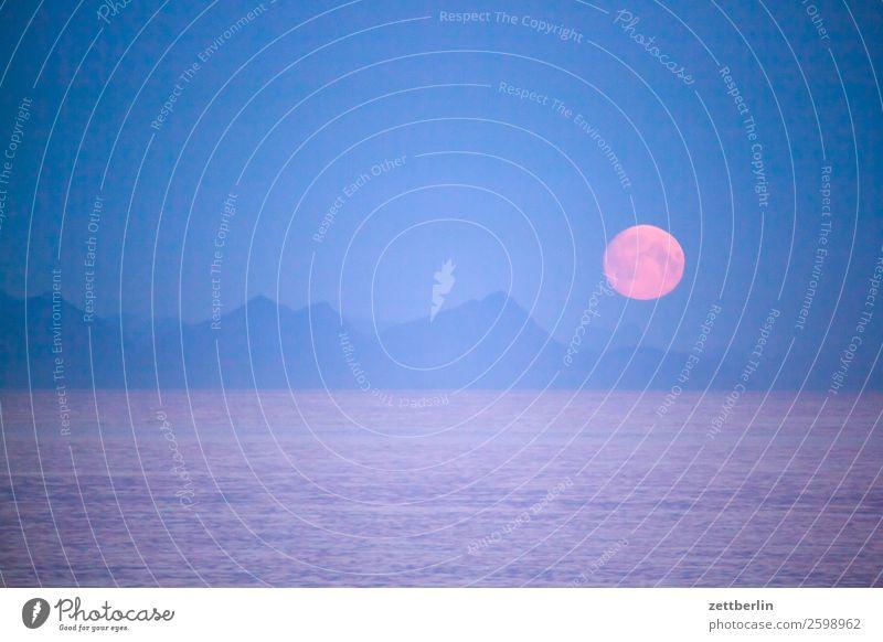 Mond again Abend Nacht Dämmerung Polarnacht dunkel Felsen Ferien & Urlaub & Reisen Fjord Hafen Himmel Himmel (Jenseits) Horizont Insel Landschaft maritim Meer