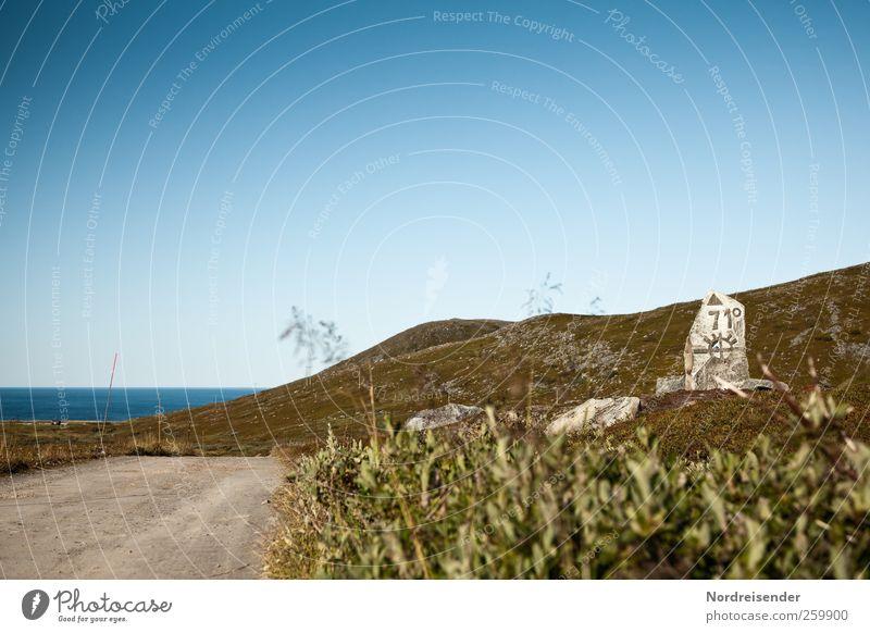 Sie haben ihr Ziel erreicht Wasser Ferien & Urlaub & Reisen Sommer Meer Einsamkeit Ferne Straße Landschaft Freiheit Wege & Pfade Küste Felsen wandern Klima Abenteuer Ziffern & Zahlen