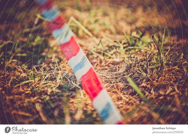 Absperrband III Natur weiß grün rot Sommer Wiese Umwelt Gras braun Kunststoff Grenze Trennung Barriere Unfall gestreift Musikfestival