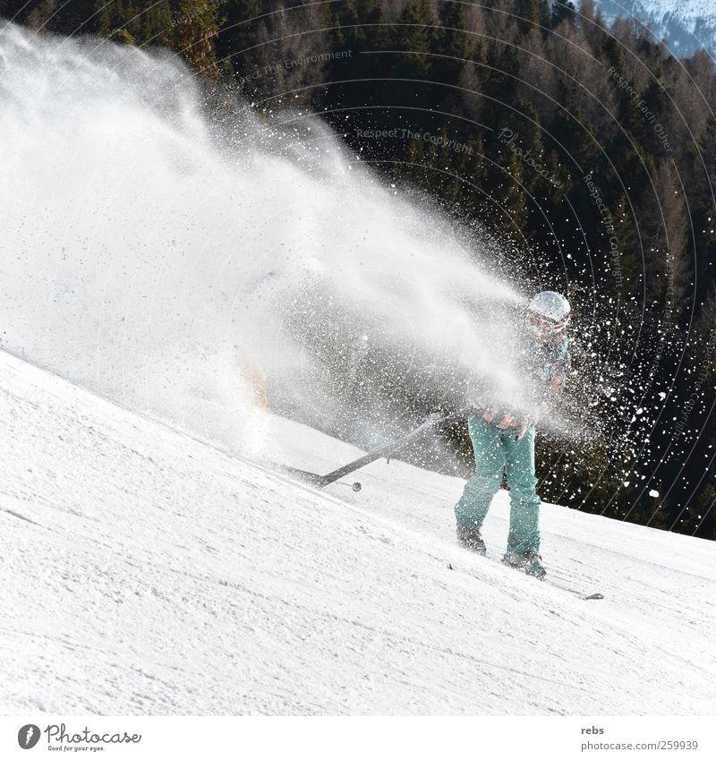 Kampf dem Schnee Mensch Junge Frau Jugendliche Junger Mann Erwachsene 1 Natur Landschaft Winter Schneefall Baum Wald Hügel Berge u. Gebirge Brille Helm fahren