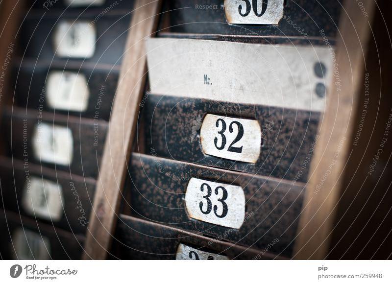die nr 31 Karteikarten stempelkarte Etikett Holz Metall Ziffern & Zahlen Schilder & Markierungen alt retro braun schwarz Nostalgie Vergangenheit 32 33