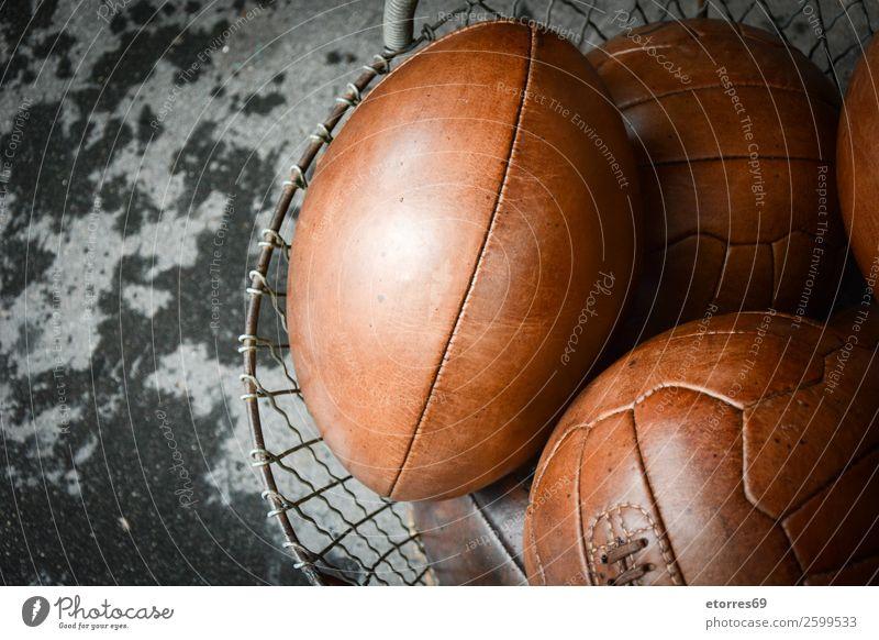alte Lederkugeln Ball Korb Kasten Besen England gravieren Mode Fußball American Football authentisch Handschuhe London Rugby Sport sticken Großbritannien