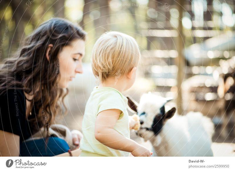genau, trau dich Frau Kind Mensch Natur Tier Freude Mädchen Erwachsene Leben Umwelt feminin Familie & Verwandtschaft Zusammensein Kindheit niedlich beobachten