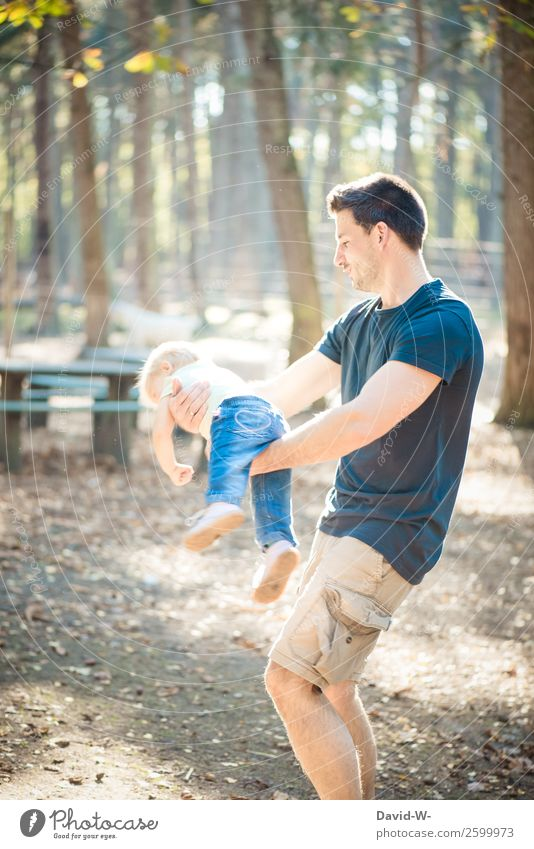 fliegen mit Papa IV Kind Mensch Mann schön Landschaft Erwachsene Leben Herbst Liebe natürlich lustig feminin Familie & Verwandtschaft Glück Junge Zusammensein