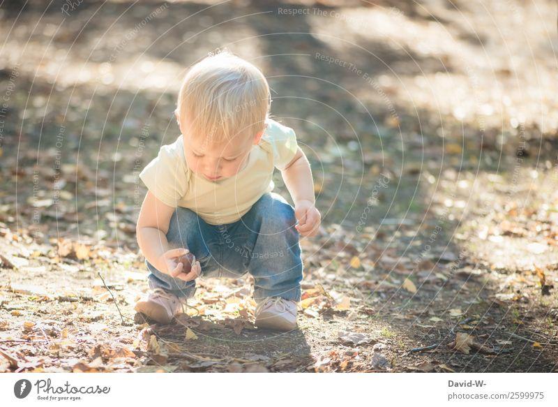 was habe ich denn da gefunden? Kindererziehung Mensch Kleinkind Mädchen Junge Kindheit Leben Hand 1 1-3 Jahre Umwelt Natur Schönes Wetter beobachten finden
