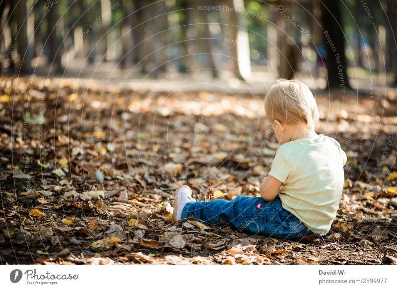 in dem Alter gibt es überall etwas zu entdecken Kind Mensch Natur schön Blatt Mädchen Leben Herbst Umwelt feminin klein Denken Kindheit sitzen Schönes Wetter