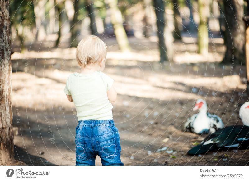 ente(ckung) Kind Mensch Natur Sommer schön ruhig Wald Mädchen Leben feminin Junge Zufriedenheit maskulin Kindheit Schönes Wetter niedlich