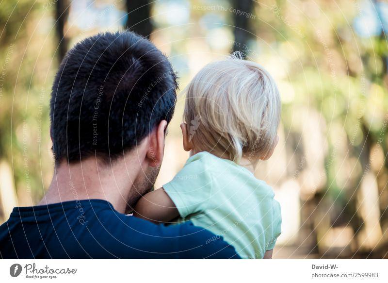 Vater und Kind Mensch Natur Jugendliche Mann Junger Mann Wald Mädchen Erwachsene Leben Liebe Familie & Verwandtschaft Haare & Frisuren Kopf Zusammensein