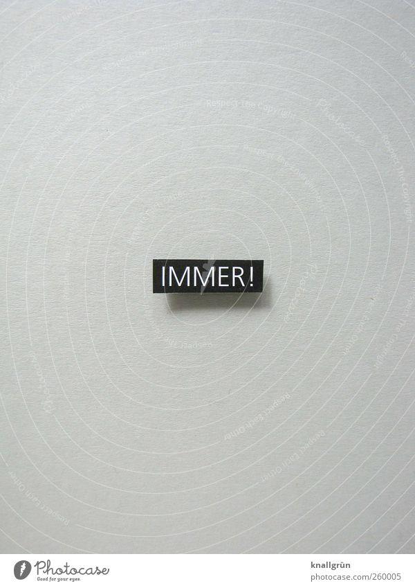 IMMER! Schriftzeichen Schilder & Markierungen Kommunizieren eckig grau schwarz weiß Vorfreude Begeisterung Erwartung Hoffnung Optimismus Perspektive immer