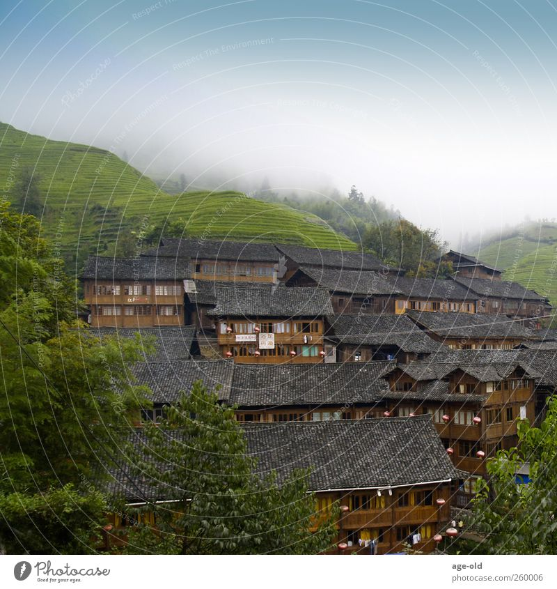 Gemeinschaft Ferien & Urlaub & Reisen Ferne Sommer Architektur Landschaft China Asien Haus Häusliches Leben einfach exotisch blau braun grau grün Solidarität