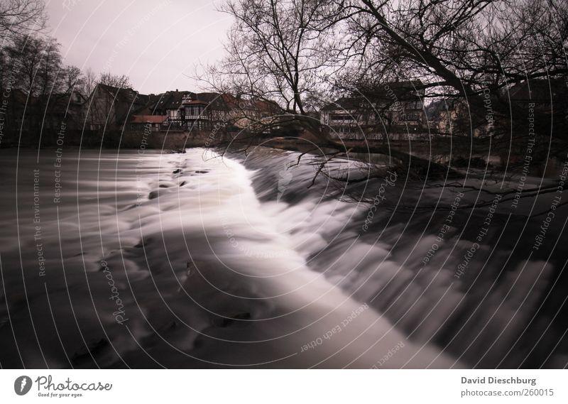 Berauschend Natur Landschaft Wasser Winter Pflanze Baum Flussufer Bach schwarz weiß Wasserfall fließen Bewegungsunschärfe Marburg Hessen Rauschen Flußwehr Lahn