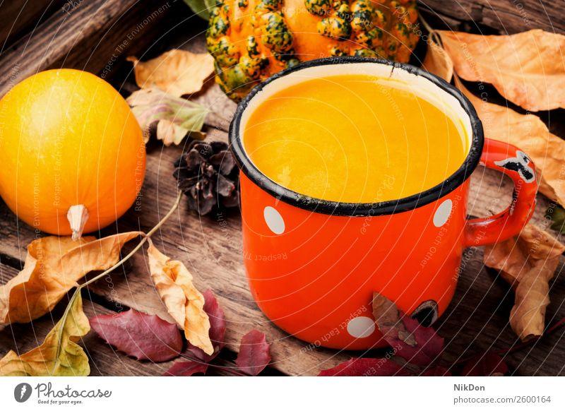 Gesunder Kürbis-Smoothie trinken Herbst fallen Lebensmittel Gemüse Metall gefallen Blätter Becher Getränk Gesundheit orange frisch Vegetarier süß Cocktail Saft