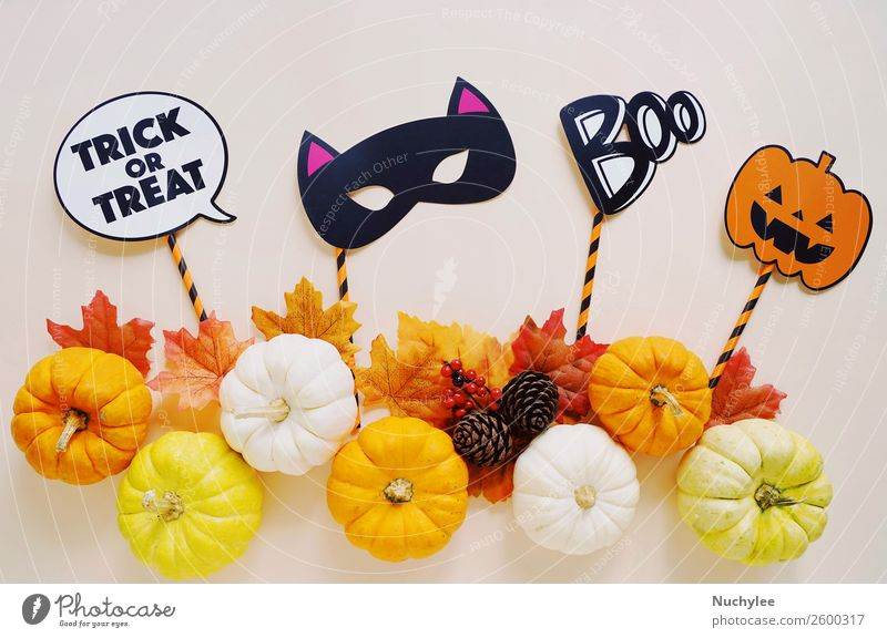 Freude Herbst Glück Feste & Feiern Kunst Design Dekoration & Verzierung retro Fotografie niedlich Jahreszeiten Postkarte trendy Geister u. Gespenster Wort böse