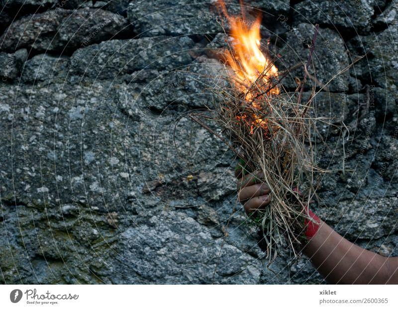 Feuer Arme Hand Gras Mauer Wand Stein Beton heiß hell einzigartig schön grau orange rot Mut Angst exotisch Risiko Schmerz brennen gefährlich Tinte Rauch Flamme