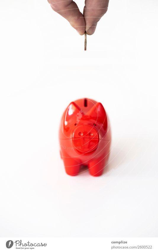 Das rote Sparschwein Kind Hand Glück Büro Erfolg Finger kaufen Geld planen Geldinstitut Reichtum online sparen Euro Kapitalwirtschaft