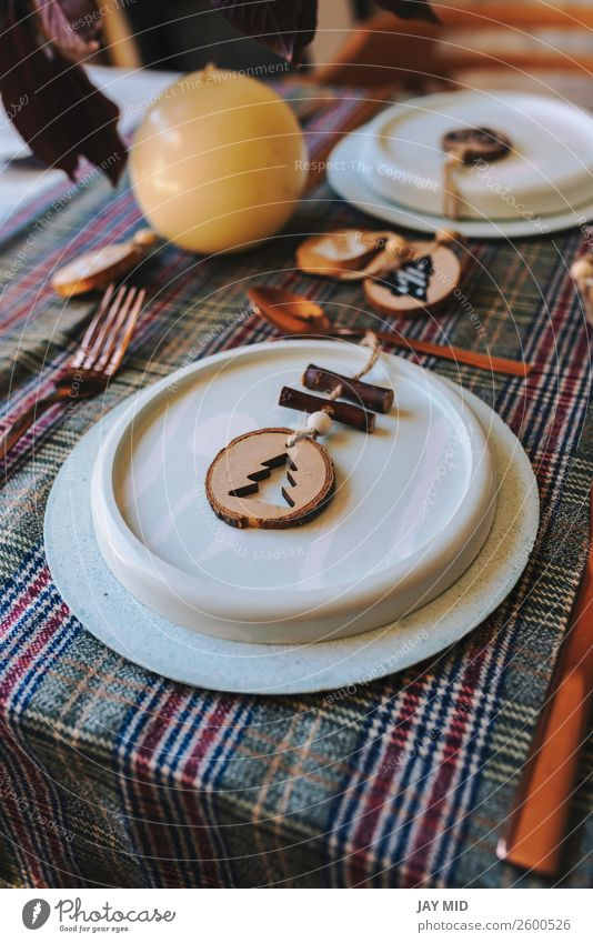 Weihnachtskupfertischdecke mit Holzornamenten verziert Abendessen Teller Glück Dekoration & Verzierung Tisch Restaurant Erntedankfest Weihnachten & Advent