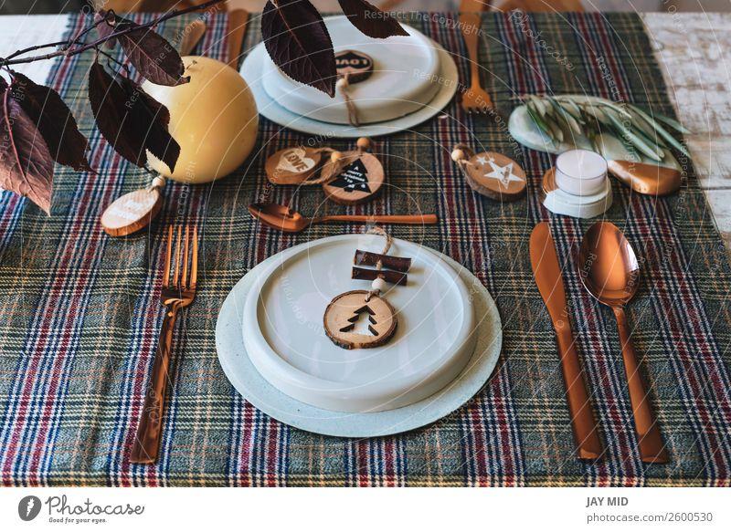 Weihnachts-Tischdekorationsgeschirr mit Holzornamenten verziert Abendessen Teller Glück Dekoration & Verzierung Restaurant Erntedankfest Weihnachten & Advent