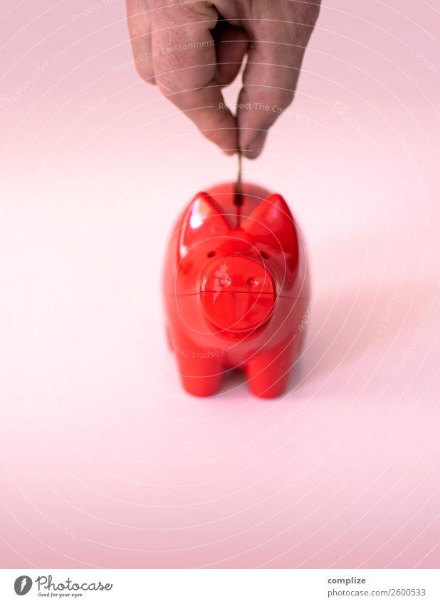 Rotes Sparschwein Kind rot Lifestyle Glück Business Häusliches Leben Büro Erfolg kaufen Zeichen Hilfsbereitschaft Geld Wunsch Geldinstitut Reichtum Wirtschaft