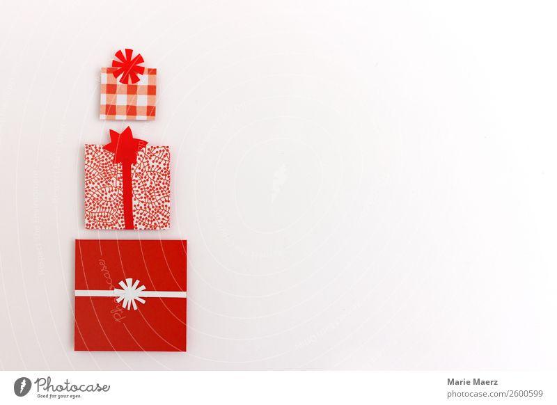 Stapel schön verpackte Weihnachtsgeschenke Weihnachten & Advent weiß rot Lifestyle Glück Stil Feste & Feiern Design mehrere ästhetisch Kreativität Geschenk