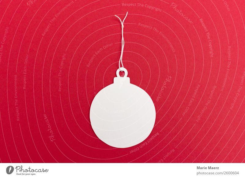 Weihnachtskugel-Anhänger Weihnachten & Advent weiß rot Glück Feste & Feiern Zufriedenheit retro Schilder & Markierungen Fröhlichkeit Papier rund Postkarte