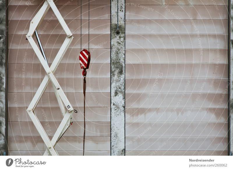 Schere und Rolle Wand Architektur Bewegung Stein Mauer Metall Linie Arbeit & Erwerbstätigkeit Beton Wachstum planen Hinweisschild Industrie Baustelle