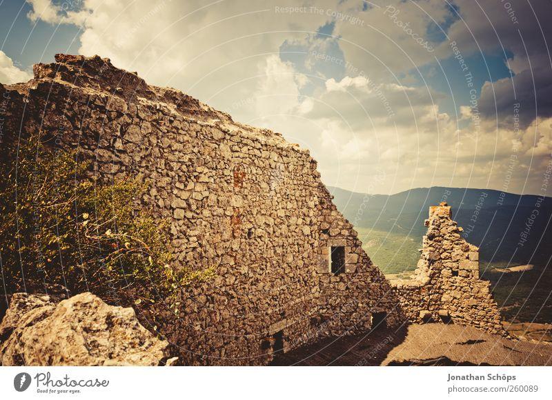 ruiniert Himmel Natur Ferien & Urlaub & Reisen Sommer Ferne Landschaft Wand Berge u. Gebirge Freiheit Architektur Mauer Felsen Ausflug Abenteuer Tourismus Vergänglichkeit