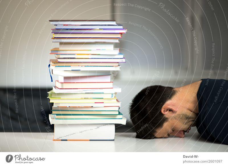 eingeschlafen Mensch Mann Berge u. Gebirge Erwachsene Leben Business Schule Kopf Büro maskulin träumen lernen Buch Studium Bildung Müdigkeit