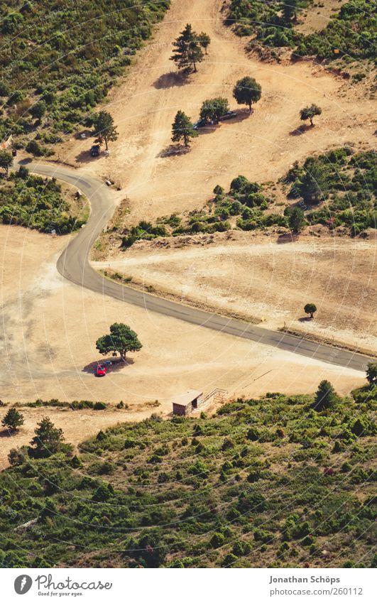 Übersicht Natur grün Baum Ferien & Urlaub & Reisen Pflanze Umwelt Landschaft Berge u. Gebirge Sand Wärme PKW braun natürlich Perspektive Reisefotografie