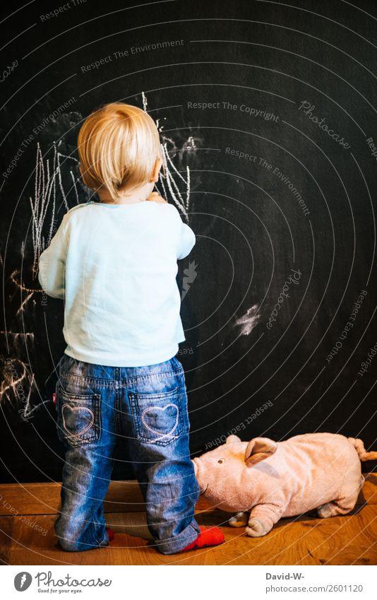kleiner Künstler elegant Stil Kindererziehung Bildung lernen Tafel Kleinkind Mädchen Junge Kindheit Leben 1 Mensch 1-3 Jahre zeichnen Freude Zufriedenheit