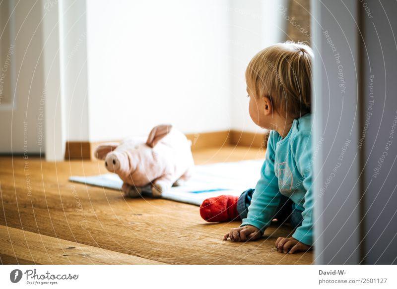 na Schweinchen alles klar bei dir? Kind Mensch Mädchen Leben Liebe Junge Spielen Haare & Frisuren Kopf Zusammensein Freundschaft Raum liegen Kindheit niedlich