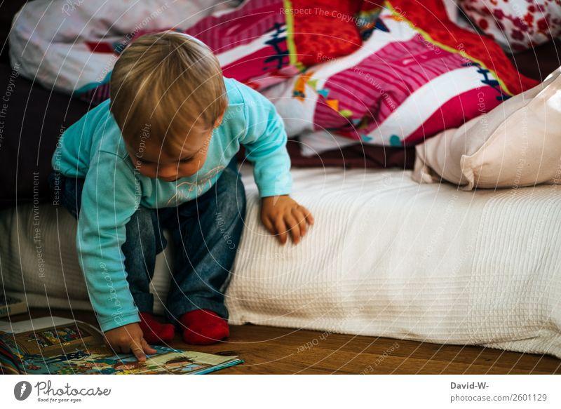 Kinderbuch Kindererziehung Bildung Kindergarten Mensch Kleinkind Junge Kindheit Leben Kopf Gesicht Nase Arme Hand Finger 1 1-3 Jahre beobachten Freude lesen