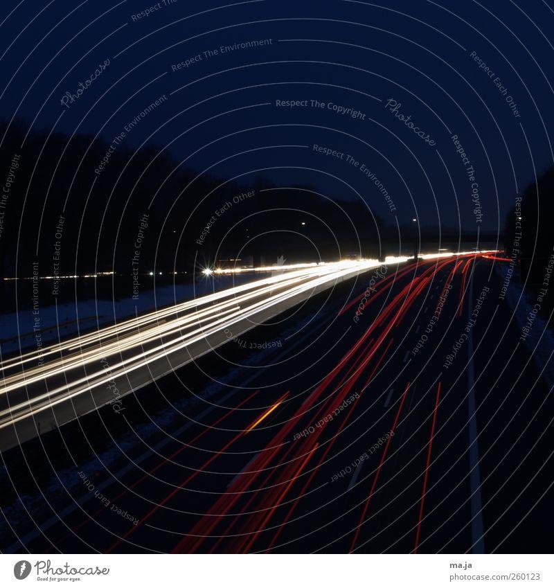 Dichter Verkehr im photocase-Land Verkehrswege Berufsverkehr Autofahren Autobahn Brücke blau gelb rot Farbfoto Außenaufnahme Textfreiraum oben Morgen