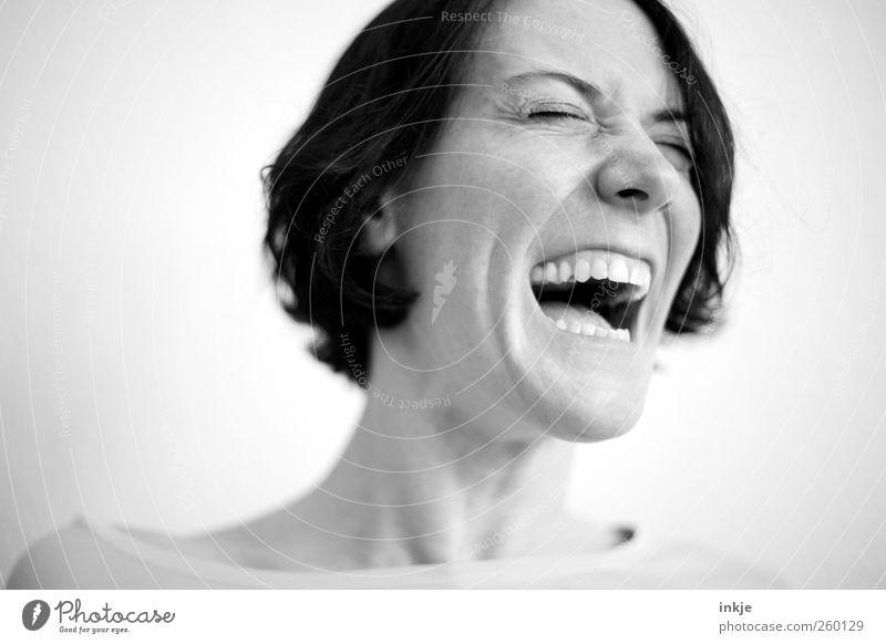 *gacker* Mensch Frau Gesicht Erwachsene Leben Gefühle Kopf lachen Stimmung lustig Freizeit & Hobby Fröhlichkeit authentisch Lifestyle einzigartig Lebensfreude