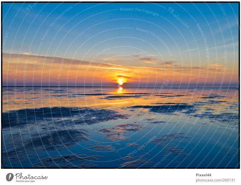 Abendstimmung am Meer Himmel Natur blau Wasser Ferien & Urlaub & Reisen ruhig gelb Erholung Landschaft Freiheit Küste träumen Stimmung Deutschland Horizont Zufriedenheit