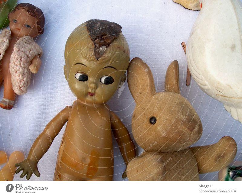 und ich wette, es war doch der hase! Hase & Kaninchen Flohmarkt kaputt Wegsehen Seitenblick obskur Puppe Misstrauen alt beschädigt