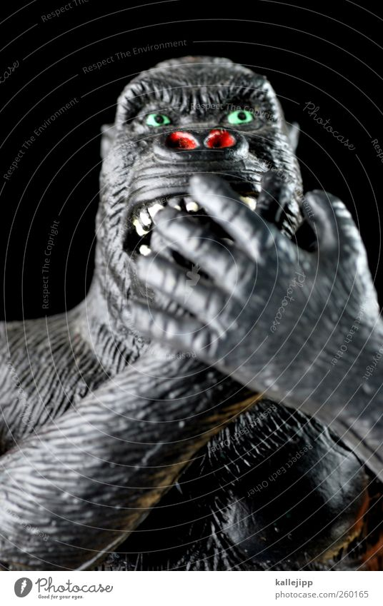 nichts sagen Tier Wildtier 1 Zeichen Kommunizieren sprechen schweigen stumm taubstumm Affen Gorilla Sprichwort Sinnesorgane Statue Spielzeug Plastikfigur