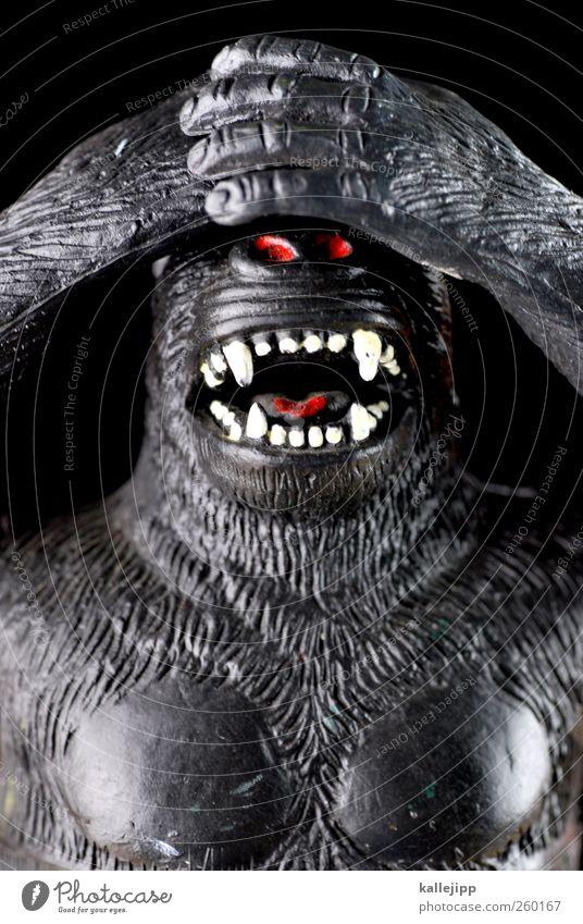 nichts sehen Lifestyle Tier Wildtier 1 Zeichen sprechen Blick blind Wegsehen Tabu Affen Gorilla Spielzeug Plastikfigur Sprichwort Zähne Sinnesorgane Farbfoto