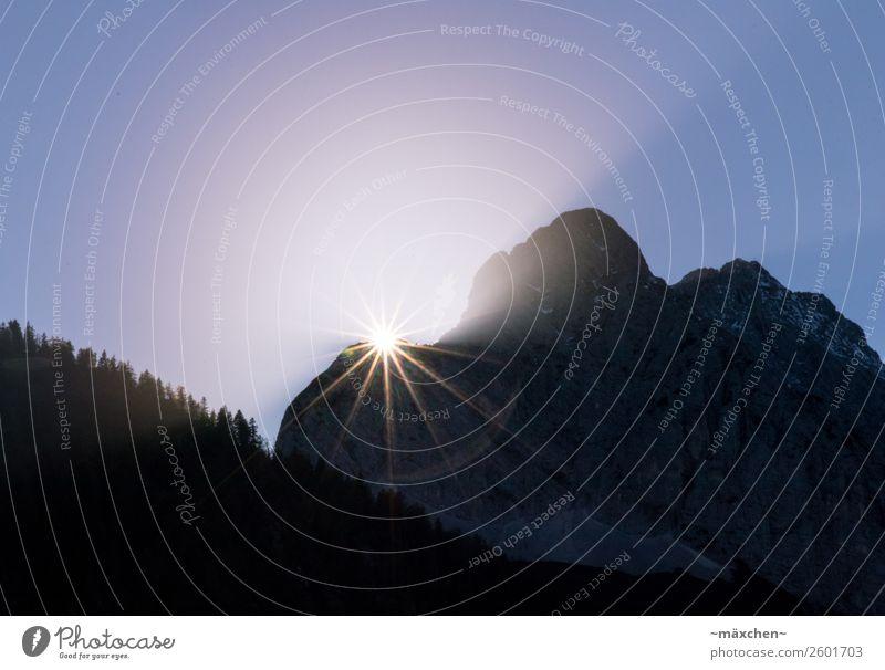 Sonnenstern blau Wald Berge u. Gebirge gelb Beleuchtung natürlich Felsen leuchten Stern Alpen violett Am Rand Lichtstrahl Nadelbaum verschwunden