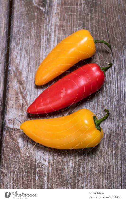 Snack-Paprika Lebensmittel Gemüse Bioprodukte Vegetarische Ernährung Fingerfood Gesunde Ernährung Küche wählen genießen liegen frisch Gesundheit gelb rot 3