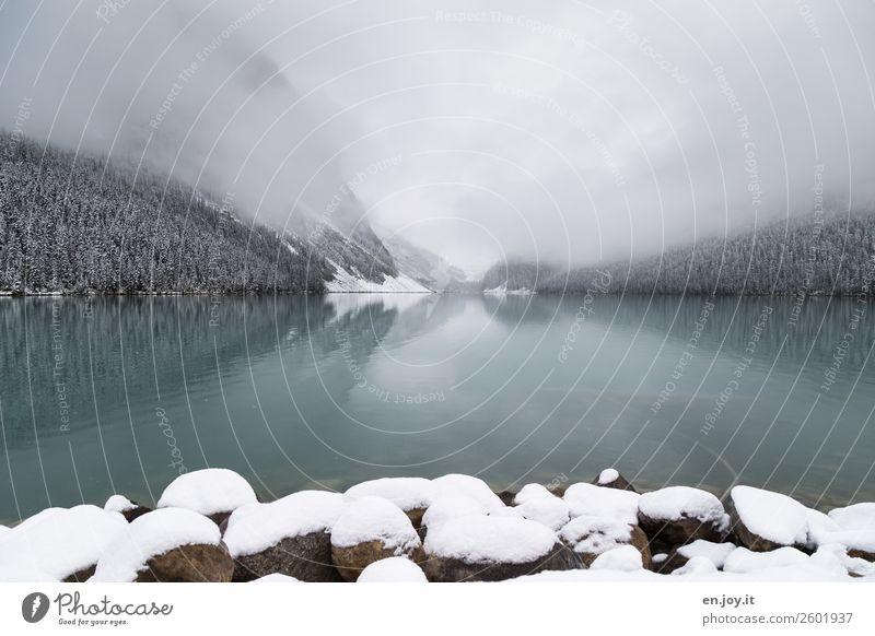 September am Lake Louise Natur Ferien & Urlaub & Reisen Landschaft Winter Ferne Berge u. Gebirge Schnee Tourismus Freiheit Stein See Felsen Ausflug Eis Nebel