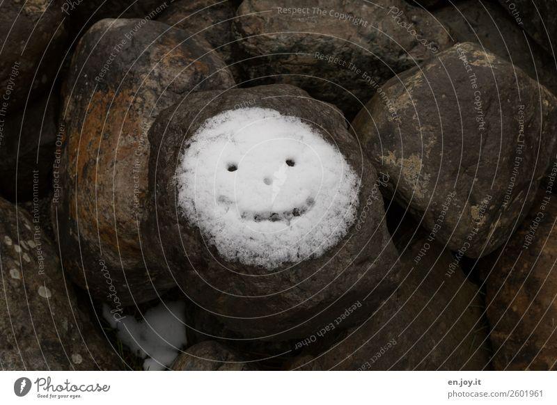 Emotion | SMILE Klima Klimawandel Schnee Felsen Stein Zeichen Lächeln Fröhlichkeit kalt positiv rund Freude Lebensfreude Glück Hoffnung Leichtigkeit Gesicht